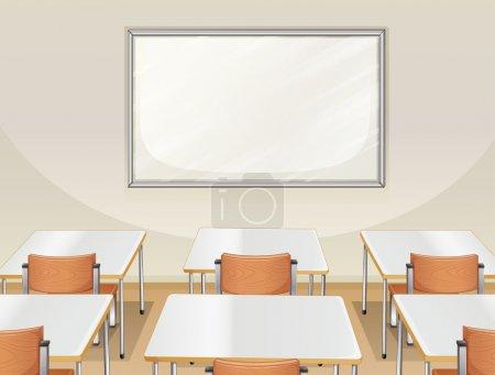 Illustration pour Illustration d'une salle de classe vide avec tableau blanc, tables et chaises - image libre de droit
