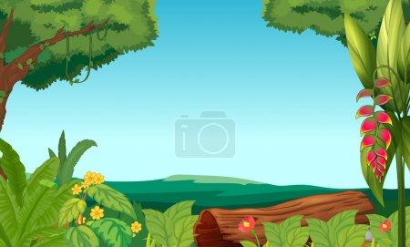 Illustration pour Illustration de la jungle avec des arbres et des plantes - image libre de droit