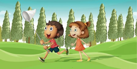A running boy and a girl