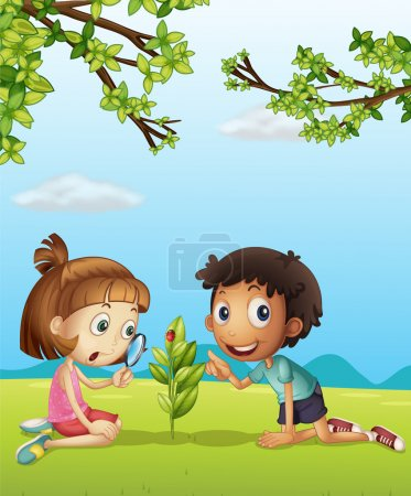 A smiling girl with magnifier and a boy