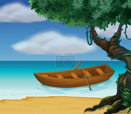 Illustration for Illustration of a wooden boat in the sea - Royalty Free Image
