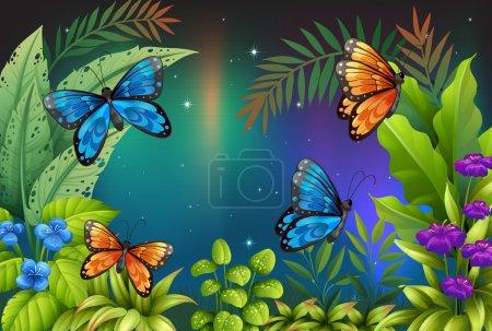 Illustration pour Illustration de papillons dans le jardin - image libre de droit