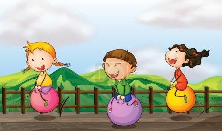 Kids playing at the bridge