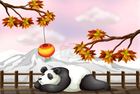 Illustration for Illustration of a sleeping bear and a snow mountain - Royalty Free Image