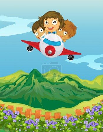 Illustration pour Illustration d'enfants et d'un avion dans une belle nature - image libre de droit