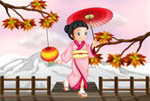 Illustration of a japanese girl in an autumn view