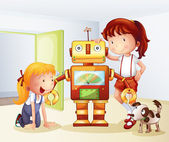 Two girls a dog and a robot