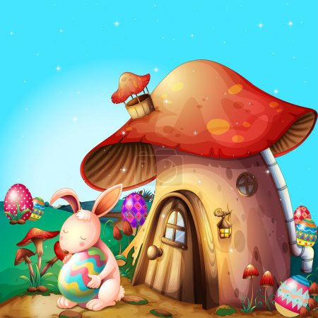 Illustration for Illustration of easter eggs hidden near a mushroom-designed house - Royalty Free Image