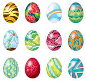 Illustration of a dozen of colorful easter eggs on a white background
