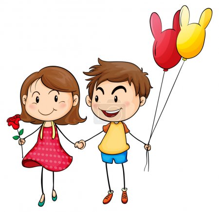Illustration for Illustration of a girl with a flower and a boy with balloons on a white background - Royalty Free Image