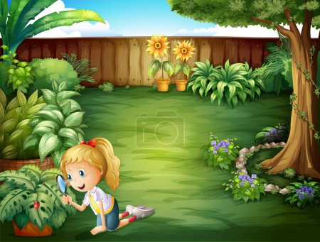 Illustration for Illustration of a girl studying the plants in the garden - Royalty Free Image