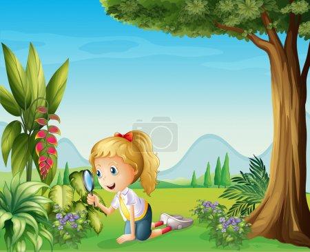 Illustration pour Illustration d'une fille tenant une loupe - image libre de droit