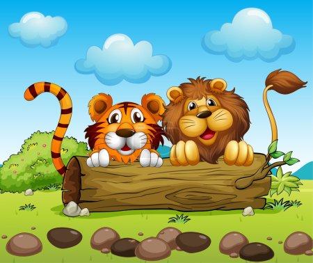 Illustration pour Illustration d'un lion et d'un tigre se cachant - image libre de droit