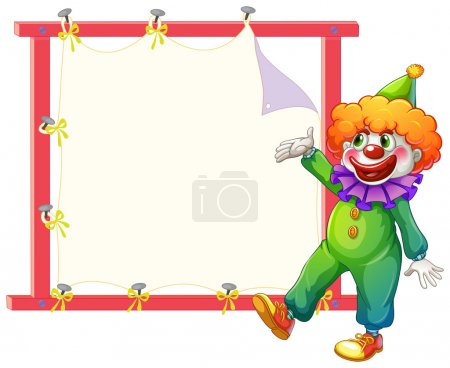 Illustration for Illustration of a clown beside an empty signage on a white background - Royalty Free Image