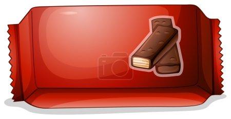Illustration pour Illustration d'un paquet de chocolat sur fond blanc - image libre de droit