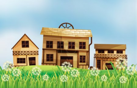 A set of wooden houses