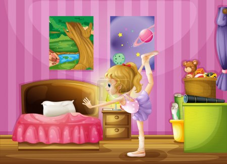 Illustration for Illustration of a young girl exercising in her room - Royalty Free Image