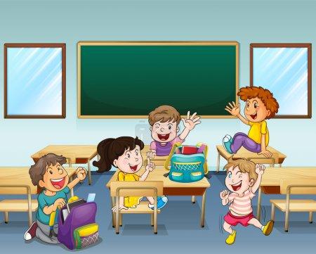 Illustration pour Illustration d'étudiants heureux dans une salle de classe - image libre de droit