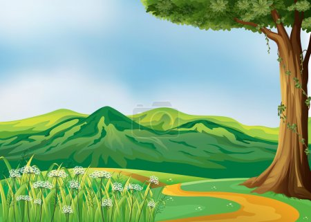 Illustration for Illustration of a pathway at the hills - Royalty Free Image
