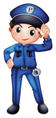 Illustration for Illustration of a policeman with a complete uniform on a white background - Royalty Free Image
