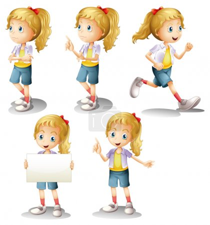 Illustration for Illustration of a girl with different positions on a white background - Royalty Free Image