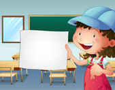 Illustration of a student holding an empty piece of paper