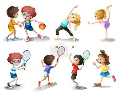Illustration pour Illustration d'enfants faisant de l'exercice et pratiquant différents sports sur fond blanc - image libre de droit