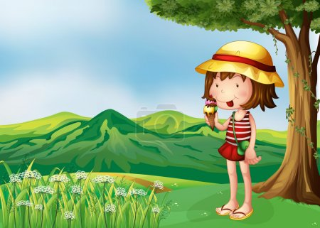 A girl eating an icecream at the top of the hills