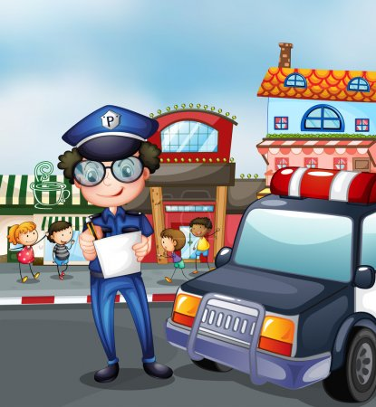 Illustration for Illustration of a policeman at a busy street - Royalty Free Image