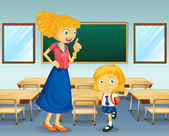 Illustration of a teacher and a student