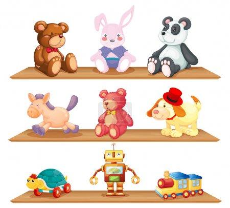 Illustration pour Illustration des étagères en bois avec différents jouets sur fond blanc - image libre de droit