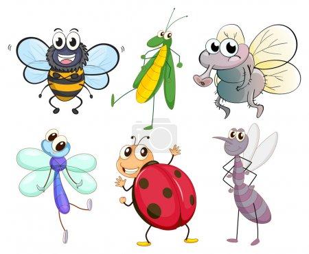 Illustration pour Illustration des différents insectes sur fond blanc - image libre de droit