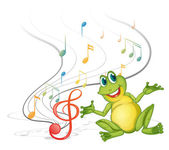 Illustration of a frog with musical notes on a white backgound