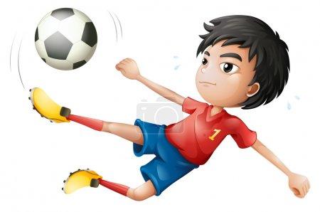 Illustration pour Illustration d'un footballeur sur fond blanc - image libre de droit