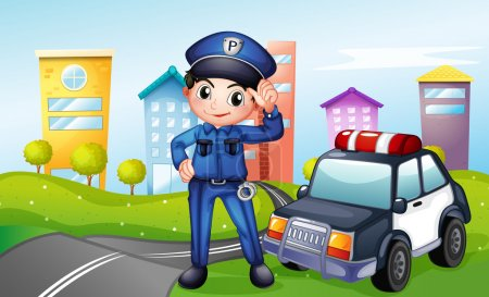 Illustration for Illustration of a policeman with a police car along the street - Royalty Free Image