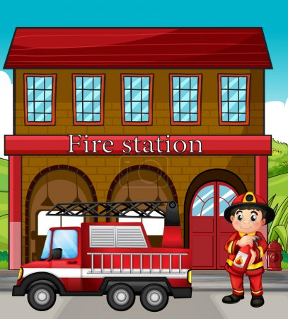 A fireman with a fire truck in a fire station