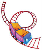 Illustration of a roller coaster ride on a white background