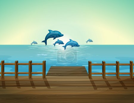 Six dolphins diving