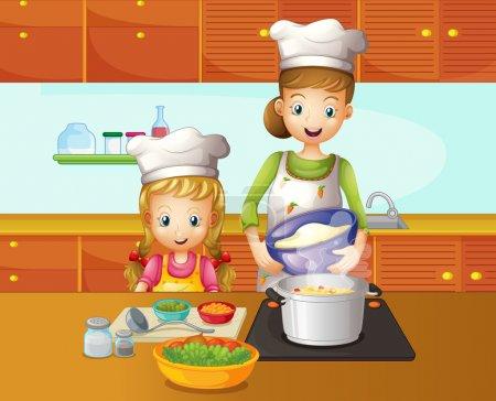 Illustration pour Illustration d'une cuisine mère-fille - image libre de droit