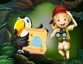 Dívka s dalekohledem a pták s mapou