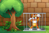 Illustration of a tiger in a cage made of steel