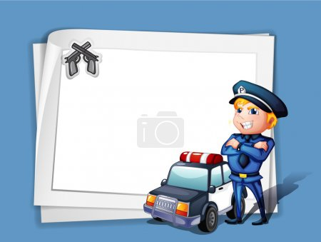 Illustration for Illustration of a policeman with a police car beside a blank paper on a blue background - Royalty Free Image