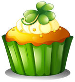 Illustration of a cupcake for St Patrick's Day on a white background