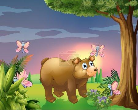 Ilustración de Ilustración de un oso bajo el árbol con cuatro mariposas - Imagen libre de derechos