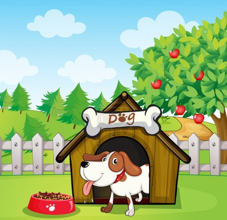 Illustration for Illustration of a dog inside a doghouse with a dogfood - Royalty Free Image