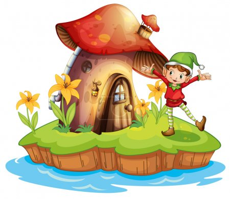 Illustration for Illustration of a dwarf outside a mushroom house on a white background - Royalty Free Image