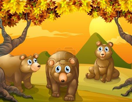 Illustration pour Illustration des trois ours bruns - image libre de droit