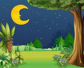 Illustration of a half moon sleeping