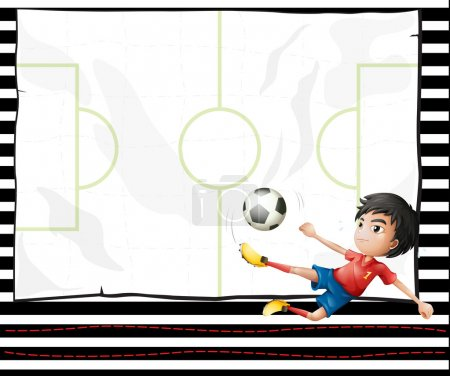 Illustration of a boy playing football and an emtp...