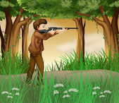 A hunter inside the jungle